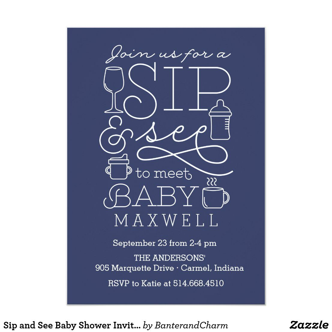 Sip and See Baby Shower Invitations   Zazzle.com in 2020   Baby boy sip and  see, Sip and see invitations, Sip and see