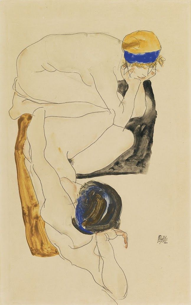 Two Reclining Figures- Egon Schiele