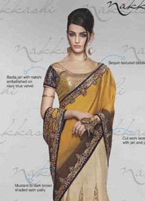 Perfect Satin Designer Saree With Blouse, Product Code:: 29863. Evolve into a jewel of inestimable value as as you wear this mustard shade satin designer Saree. Embroidered contrast yoke part and embroidered gives it an authentic ethnic appeal. - See more at: http://www.fashiononsky.com/vikram-phadnis-special/perfect-satin-designer-saree-with-blouse-4358#sthash.7BIkjd9P.dpuf