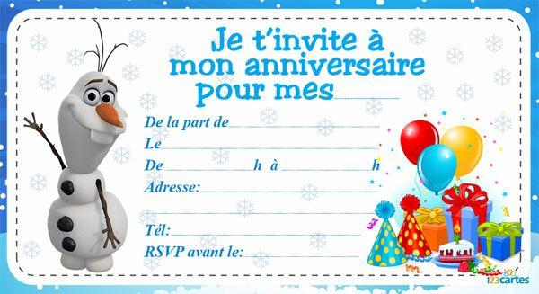 Bien connu Invitation anniversaire frozen | 123 cartes | Kids | Pinterest  QD33