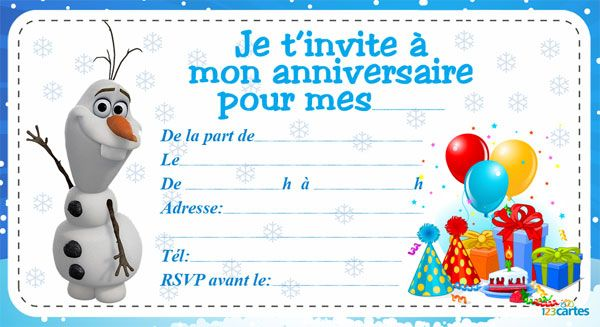 Häufig Invitation anniversaire frozen | 123 cartes | Kids | Pinterest  PC05