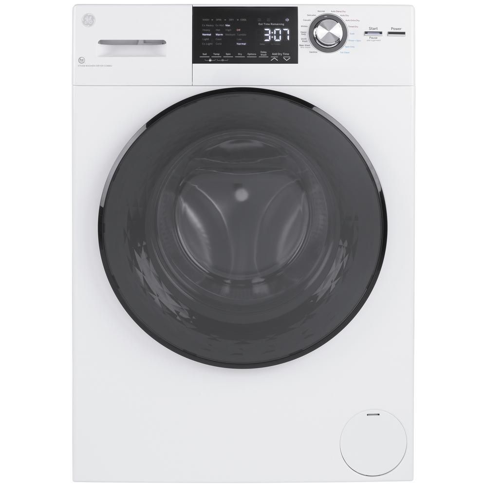 Ge 2 4 Cu Ft White High Efficiency 120 Volt Ventless Electric All In One Washer Dryer Combo White On Whi In 2020 Washer Dryer Combo Washer And Dryer Electric Dryers