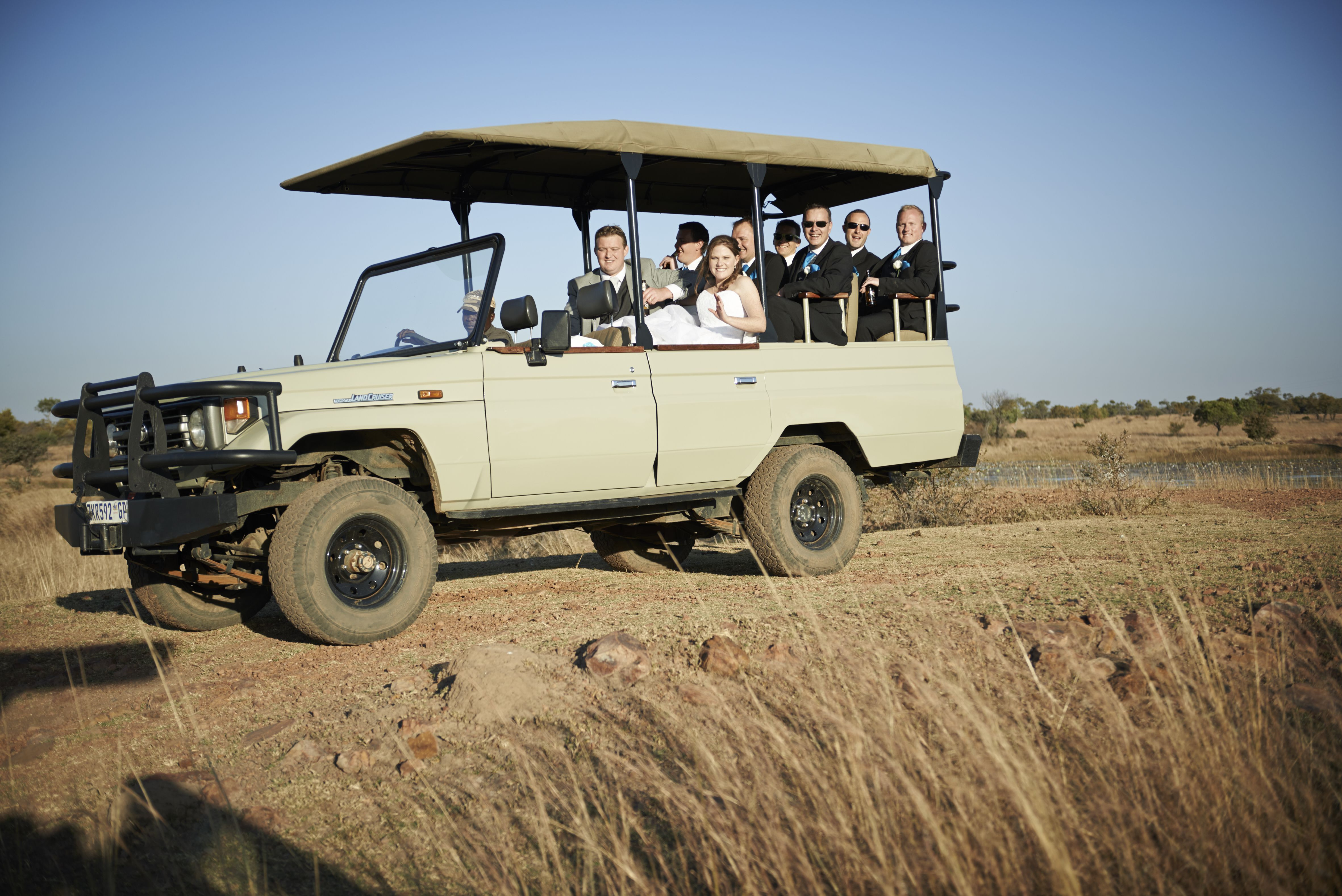 Bush wedding, game drive vehicle