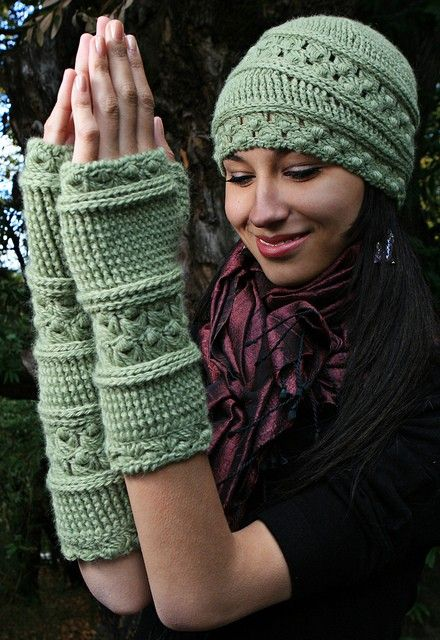 Kit - Velutinous Lace Cap   Wristlets - Crochet   Broomstick Version on  StitchDiva.com 1f1ce7fbde6