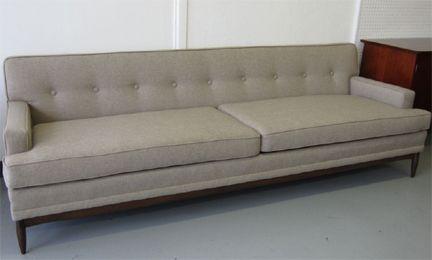 Mid Century Modern Sofa Neutral Upholstery Tufted Back Prima Forme Austin Tx