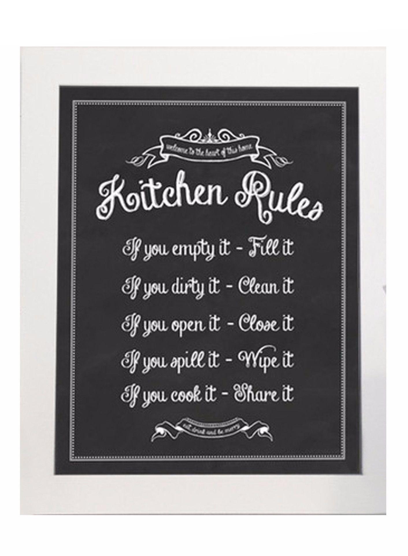 Kitchen Rules Kitchen Rules Wall Signs Kitchen Chalkboard