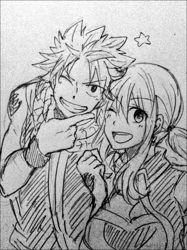 Fairy Tail Natsu And Lucy Sketch Fairy Tail Ships Fairy Tail Love Sketches
