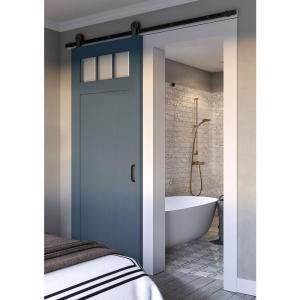Jeff Lewis 42 In X 84 In White Collar Craftsman 3 Lite Clear Beveled Glass Mdf Barn Door Wi Masonite Interior Doors Sliding Doors Interior Barn Doors Sliding