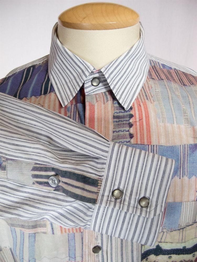 DESIGUAL Mens Dress Shirt Size L Slim Fit Cotton Stripe Patch 96C1229 #Desigual
