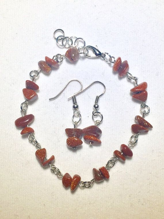 Glittering Goldstone Chip Bracelet and Earring Set by RedSilentWolfJewelry