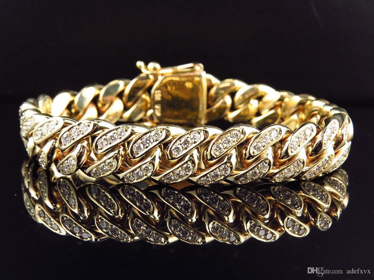 Solid k yellow gold miami cuban link vs diamond inch mm