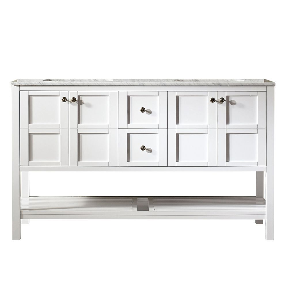 Florence 60 Inch Vanity In White With Carrara White Marble