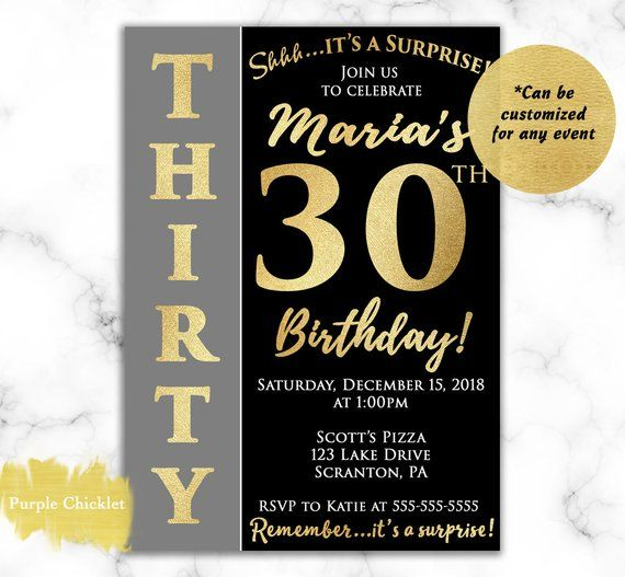 Surprise 30th Birthday Invitation For Her Gold And Black Thirty 60th 18th Any Age Him