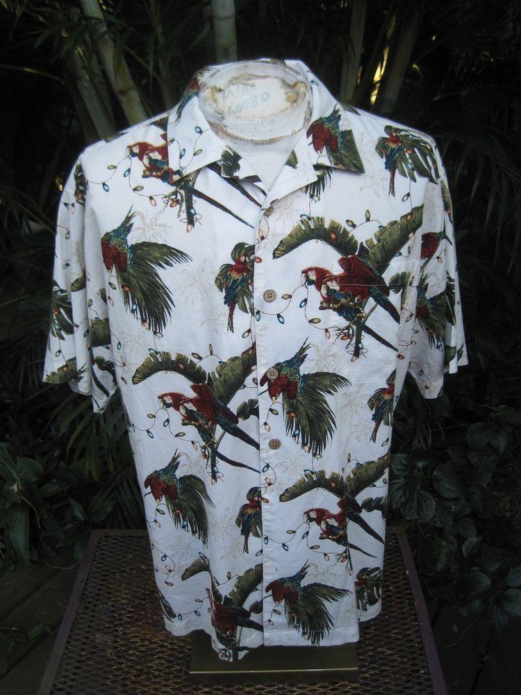HAWAIIAN Aloha SHIRT XL pit to pit 25 WINDHAM POINTE Cotton Rayon Tropical Birds #SeeDescription #Hawaiian