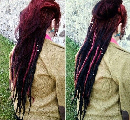 I love this. Dreads that are red, pink, and dark purple.!(: