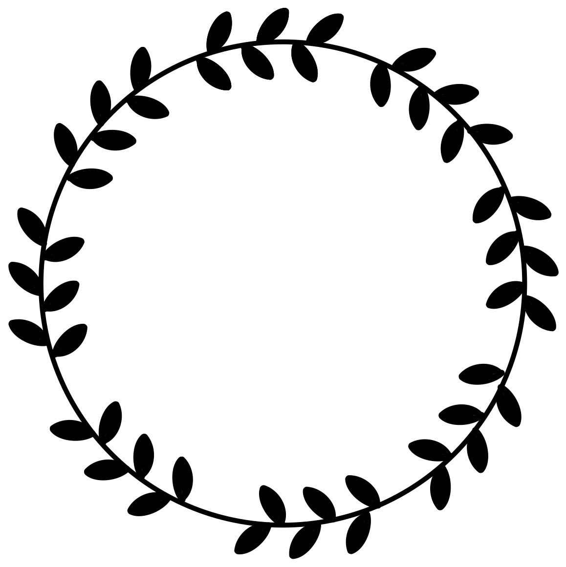 Circle And Leaf Frame Template