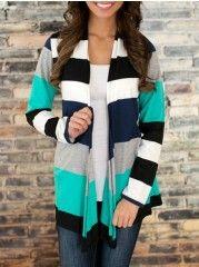 Color Block Striped Collarless Cardigan