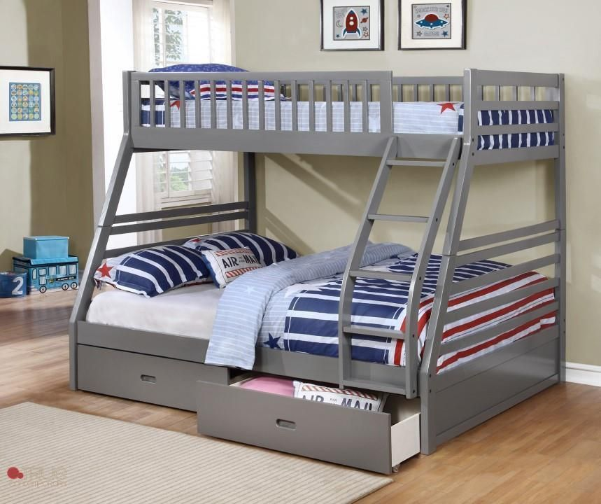 Fraser Grey Twin Over Full Bunk Bed With Storage Drawers And Solid Wood