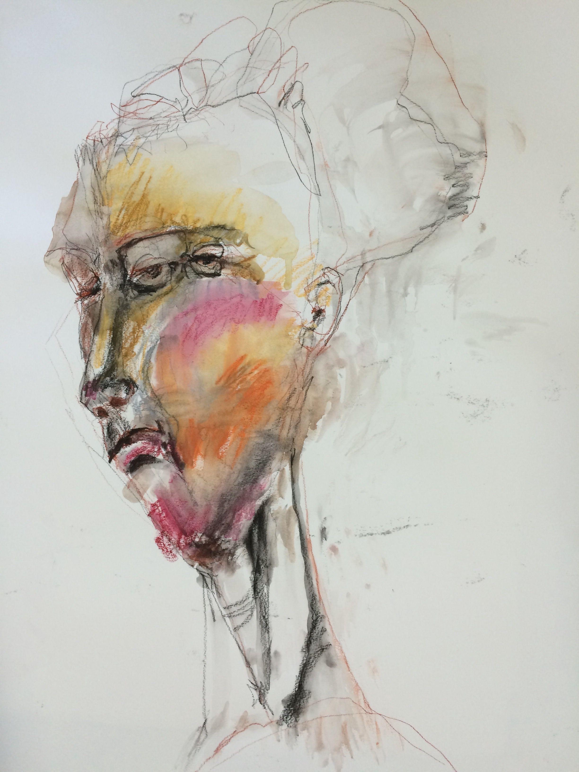 Veronica Cay Mixed Media Conte Carbon Watercolour Crayons On