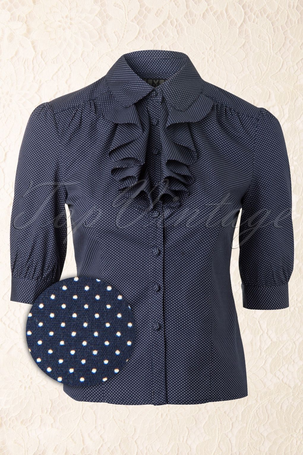 Fever - 50s Audrey Pindot Blouse in Navy