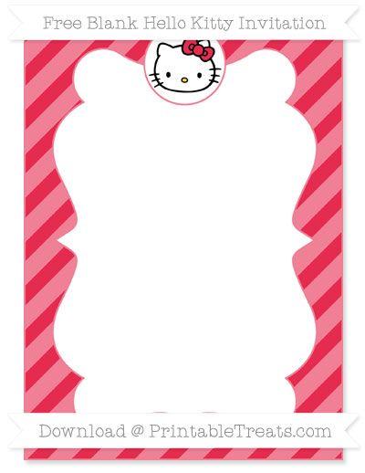 Free Amaranth Pink Diagonal Striped Blank Hello Kitty Invitation