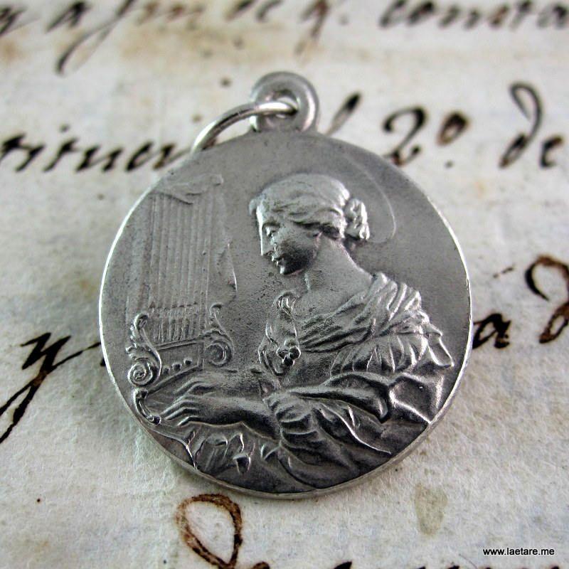 Saint cecilia wonderful silver medal silver plated catholic saint cecilia wonderful silver medal silver plated catholic religious mozeypictures Choice Image