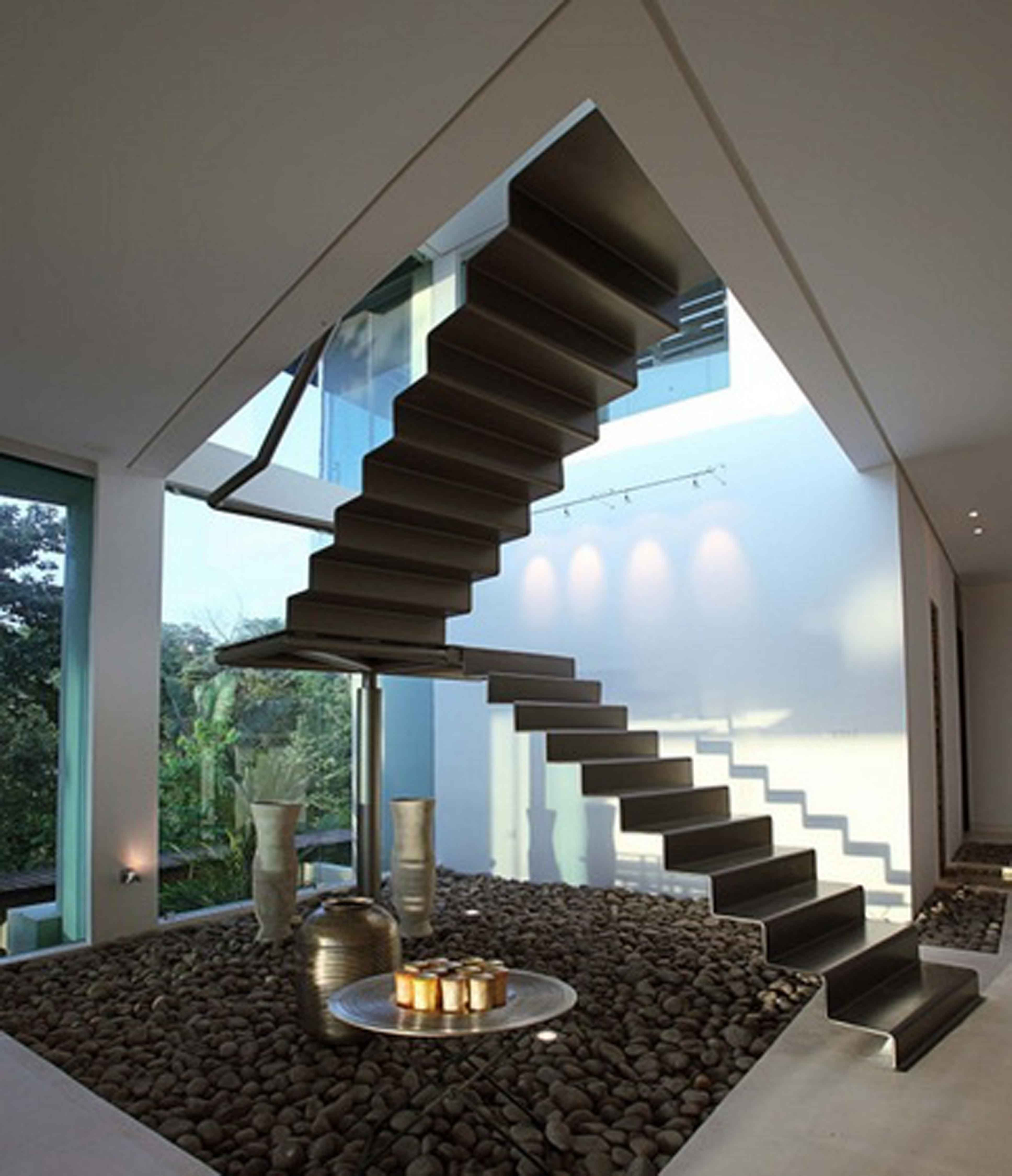 Pretty Design Ideas Of Cool Staircase With Floating Brown Color Stair Also  Combine With Folding Metal Amazing Ideas