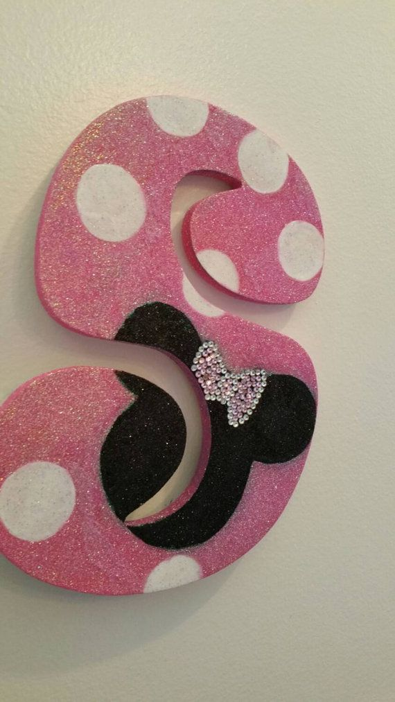 GLITTER Pink/White Polka Dot Minnie Mouse Inspired Decorative Wall