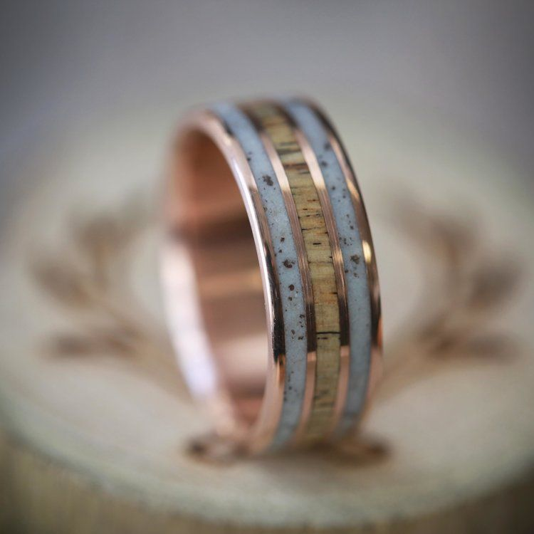 Elk Antler Wedding Ring On Rose Gold Handcrafted By Staghead Designs Engagement Ring Buying Guide 14k Gold Wedding Band Antler Wedding Rings