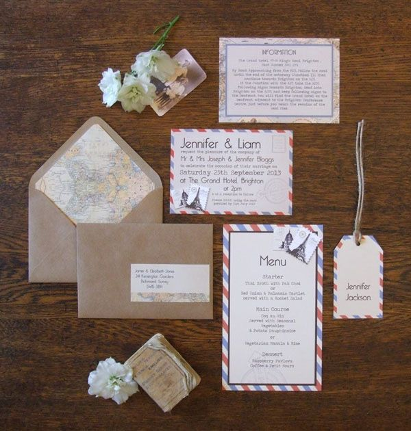 Vintage Travel Wedding Invitations By Knots And Kisses