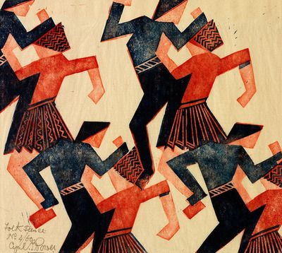Cyril Power (English, 1872-1951), Folk Dance, c. 1932. Linocut.