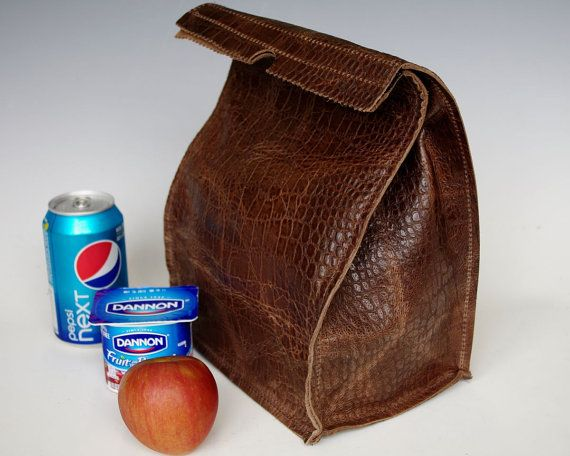 Leather Lunch Bag Large Distressed Crocodile Embossed Cowhide It S Fun