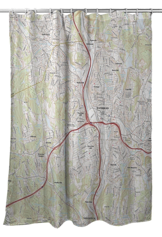 CT: Waterbury, CT Topo Map Shower Curtain in 2019 | Island Girl Home ...