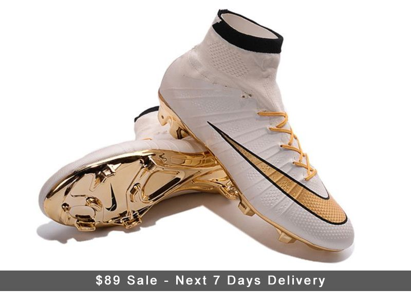 best website 22c0e 8c4af Nike Mercurial Superfly 4 CR7 Cleats FG Gold and White 2016 ...