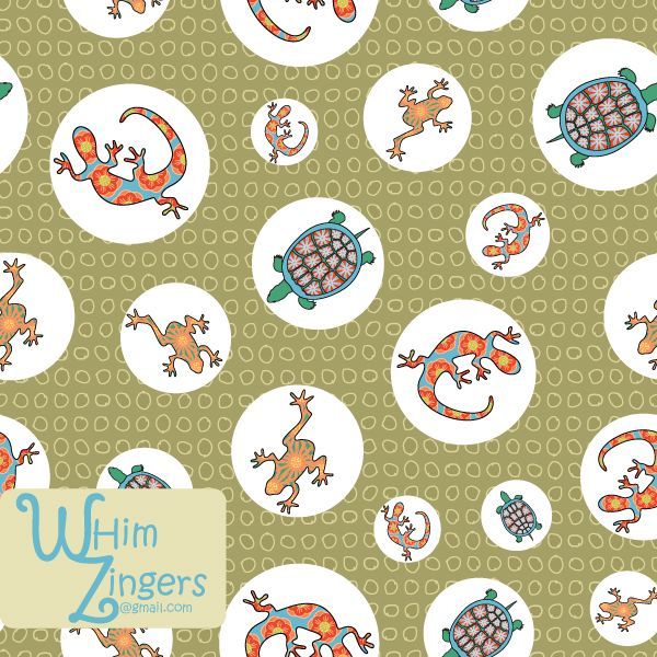 A digital repeat pattern for seamless tiling. #repeatpattern #seamlesspattern #textiledesign #surfacepatterndesign #vectorpatterns #homedecor #apparel #print #interiordesign #decor #repeat #pattern #repeat #seamless #repeating #tile #scrapbooking #wallpaper #fabric #texture #background #whimzingers #animals #frogs #turtles #lizards #bright #polkadots #polka #dots #green #red #blue #orange