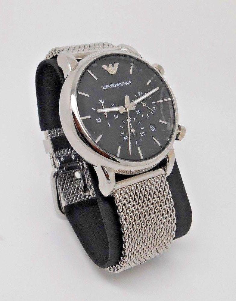 73608a27f00 NIB Emporio ARMANI Men s Chronograph Stainless Steel WATCH - AR-1811- Mesh   EmporioArmani