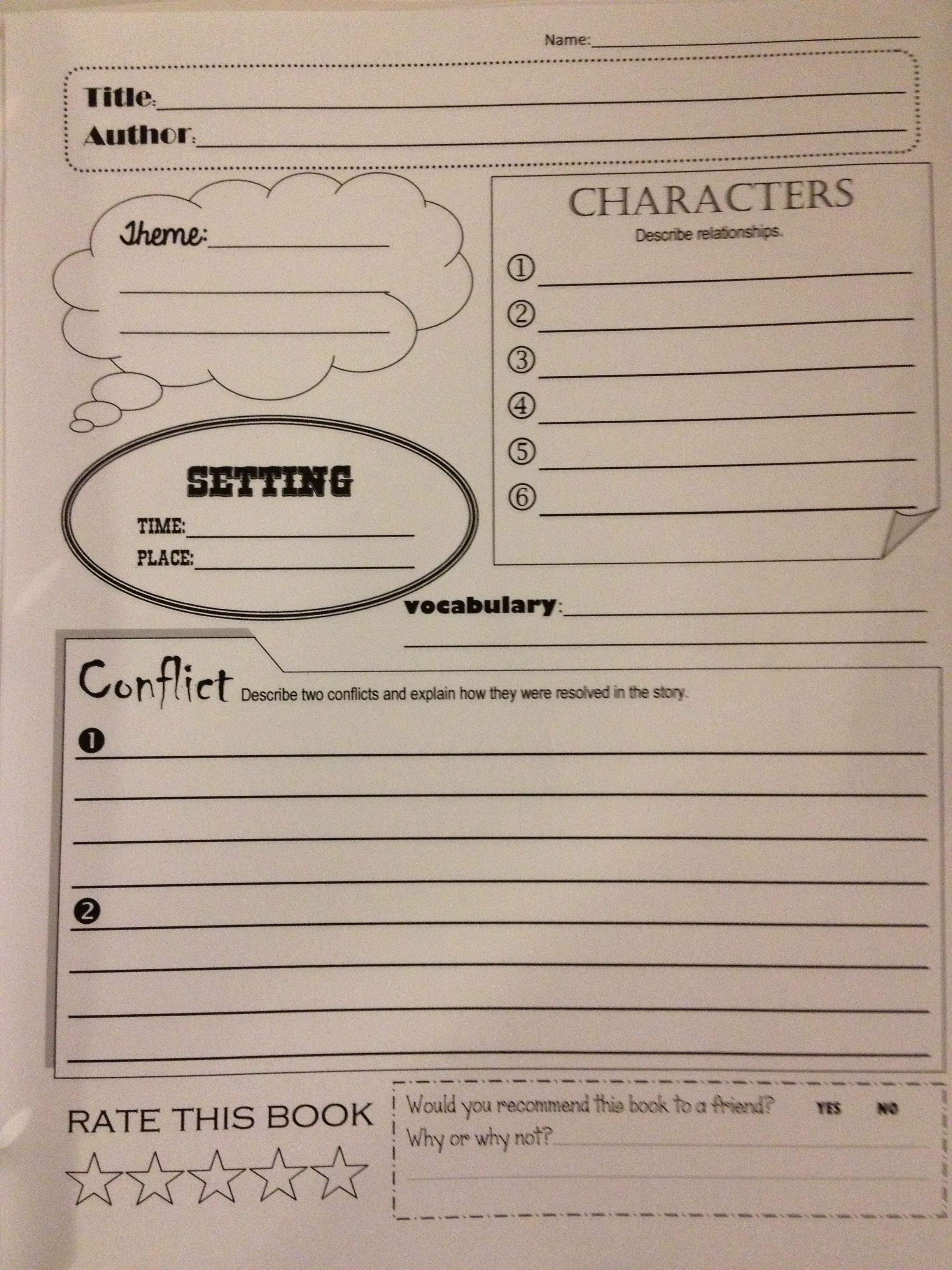 Book Title Worksheets : Simple book report form help kids review story before test