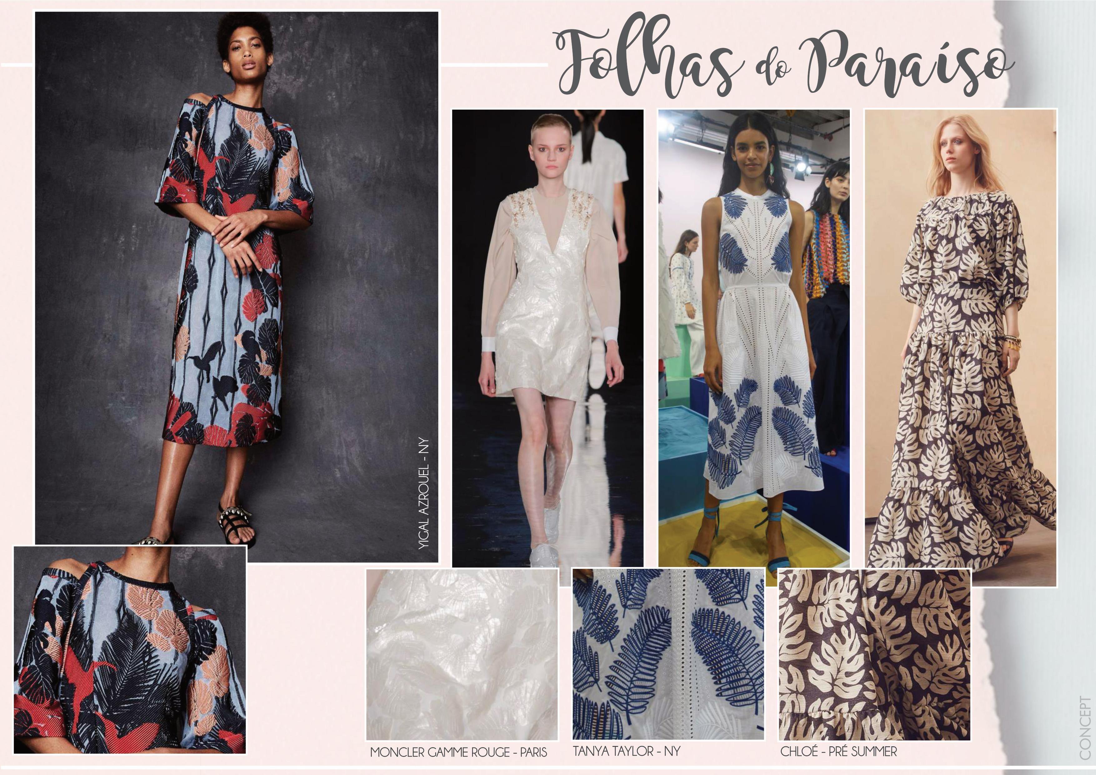 O desenho da folhagem Costela de Adão torna qualquer coleção de verão ainda mais tropical. É uma padronagem sempre presente e nesta estação irá superar as expectativas. Ultrapassando os limites da estamparia,ela permeará bordados, guipures, jacquards, entre outros.   #conceptfashion #conceitoemtecido #textil #textile #moda #trend #fashion #tecido  #fashiontextil #fashiontextile #feminino #verão2018 #instafashion #fashionista #concept_textil #instaglam #folhasdoparaiso #dicademoda #tendencia…