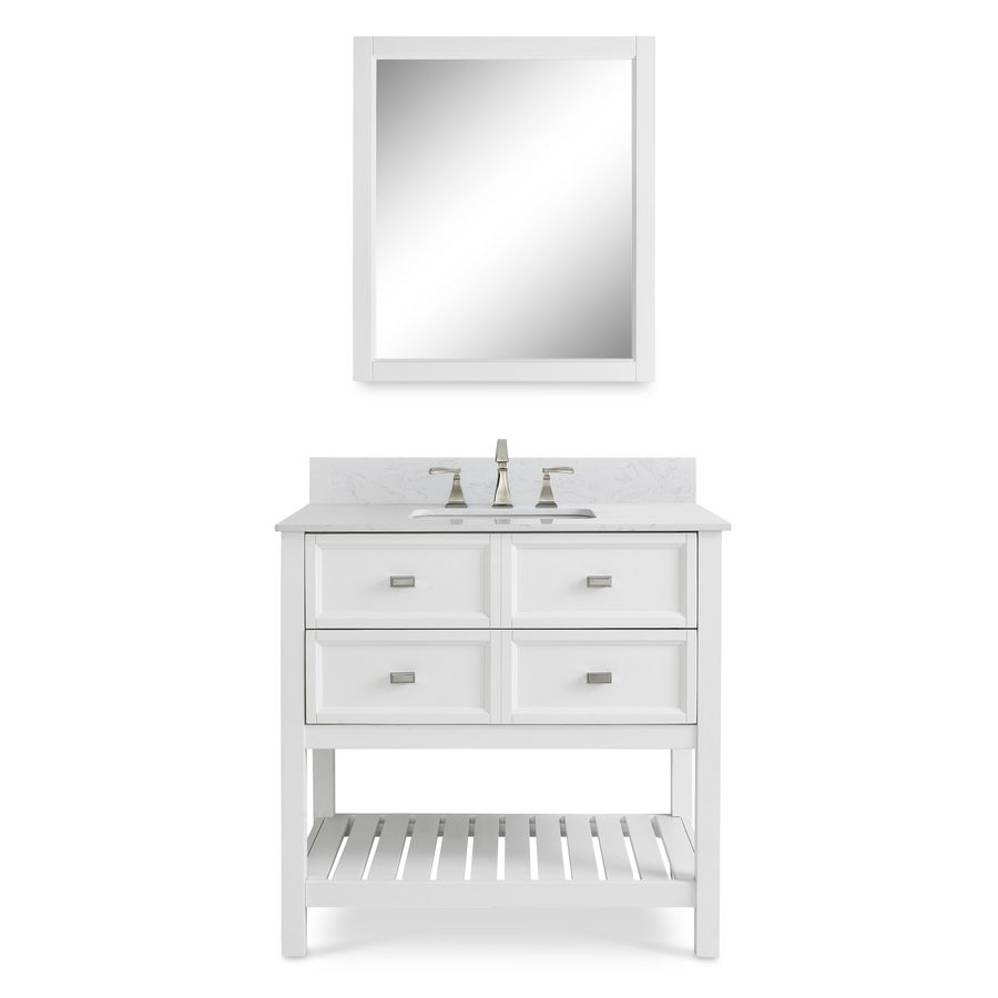 SCOTT LIVING Canterbury White Single Sink Poplar Bathroom Vanity With  Mirror And Engineered Stone Top (