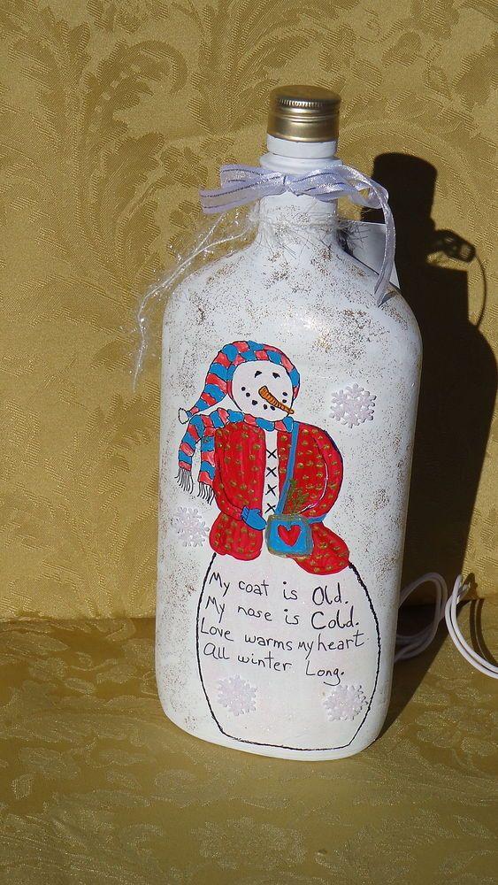 Hand-Painted Lighted Snowmanl Bottle #7 #Imadethis