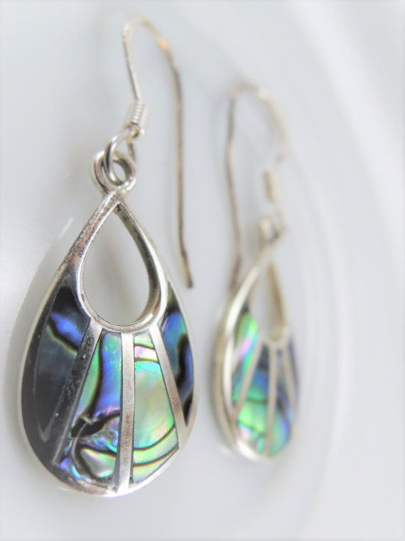 Vintage Sterling Teardrop Earrings 925 Silver Abalone Inlay Mother Of Pearl Tear Drop Iridescent Boho Jewelry