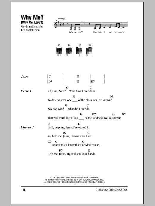 Download Guitar Chords/Lyrics sheet music to Why Me? (Why Me, Lord ...