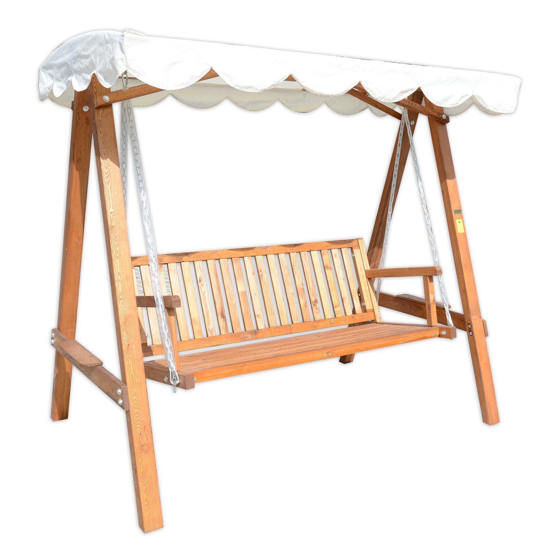 Balancelle balan oire hamac banc fauteuil de jardin en bois de pin 3 places charge max 500kg - Balancelle de jardin en bois ...