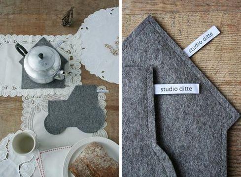Fieltros para la mesa.  I ♥  http://pinterest.com/dialhogar/  http://dialhogar.blogspot.com.es/
