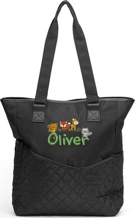 Personalized Diaper Bag Woodland Animals Tote Fox Squirrel Ra Deer Baby Forest Friends Mint Green Block A Embroidery