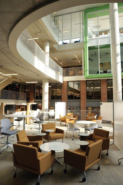 Study Room Glass: School Library Design, Atrium Design
