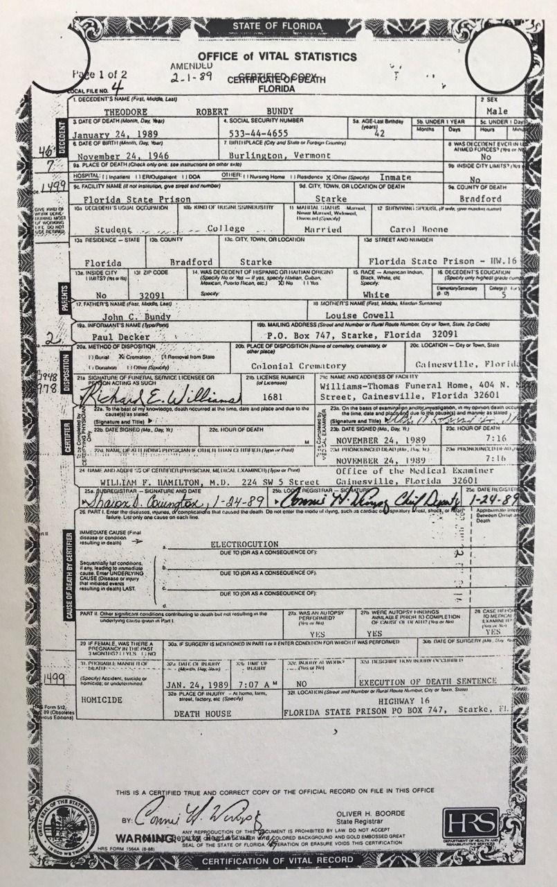 Death Certificate Theodore Robert Bundy Pinterest Death