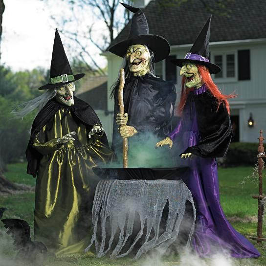 When trick-or-treaters trespass, our Animated Brewing Witch Trio - scary halloween props