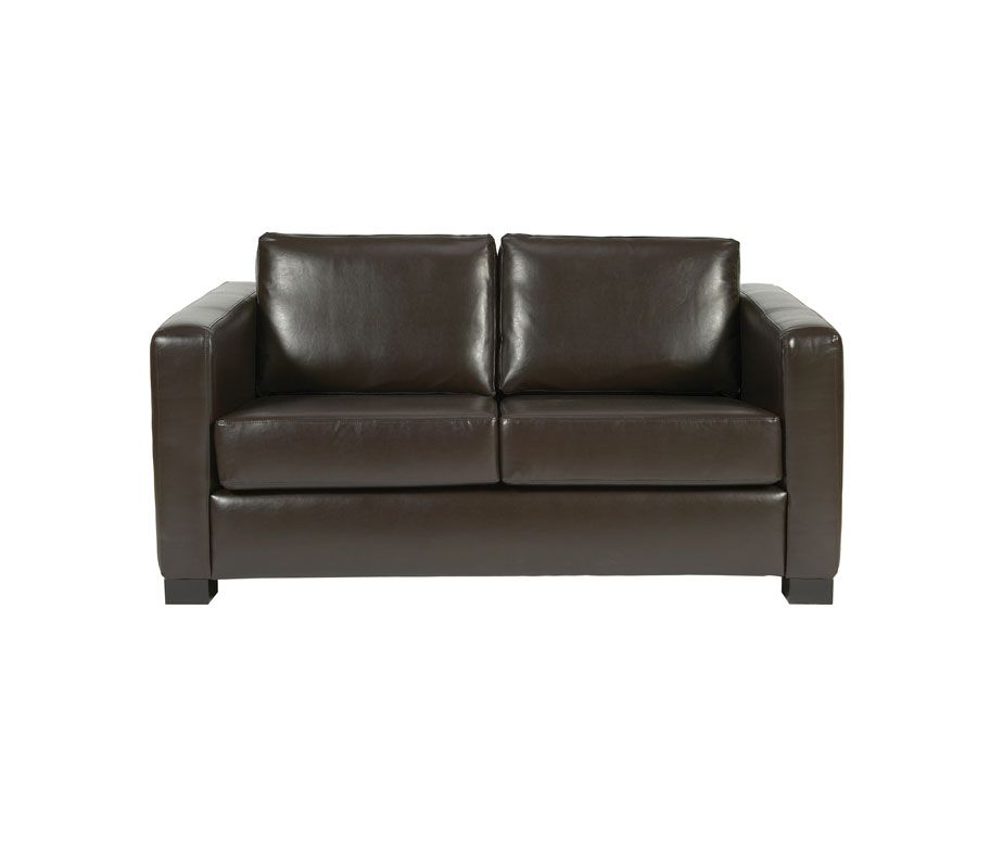 Small 2 Seater Sofa With Chunky Square Arms Made From Faux Leather Buy Online Sofa Faux Leather Sofa Small Sofa