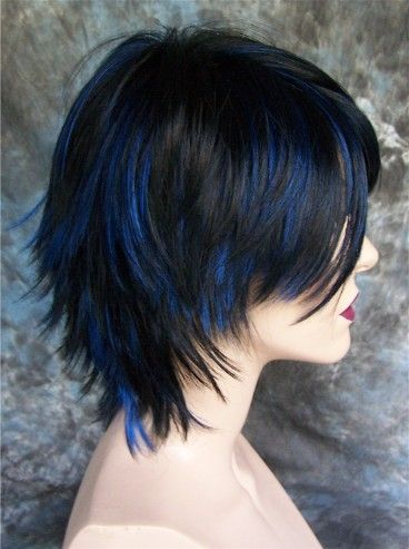 Large Fit Goth Jet Black With Blue Highlights Wig Wigs Blue Hair